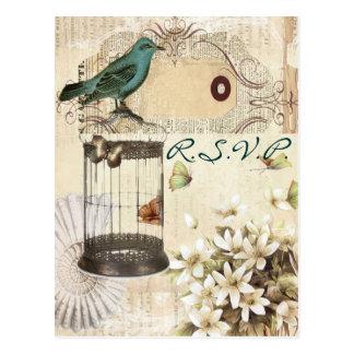 Hochzeitswarte-UAWG des Vintagen Birdcage Postkarte