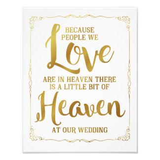 Hochzeitszeichen, Himmel an der Hochzeit, Gold Fotodruck