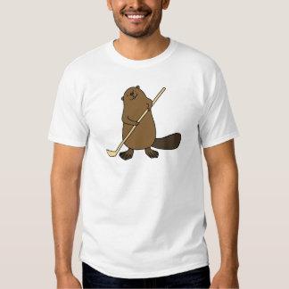 Hockey-Biber-T - Shirt-lustiges niedliches Hemd