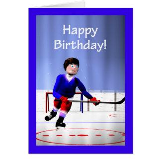 Hockey-Spieler-über die Zeit hinaus Geburtstag Grußkarte