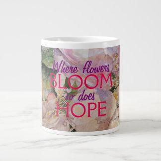 Hoffnungrosa Blumenwatercolor-Kunst-Tasse Jumbo-Tasse