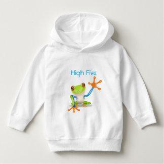 Hohe fünf orange und blaues lustiges Frosch-Shirt Hoodie