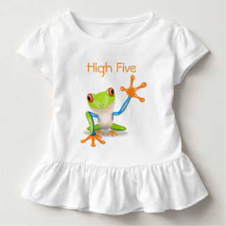 Hohe fünf orange und blaues lustiges Frosch-Shirt Kleinkind T-shirt
