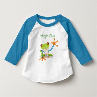 Hohe fünf orange und blaues lustiges Frosch-Shirt T-Shirt