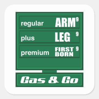 Hohe Gaspreise Quadrat-Aufkleber