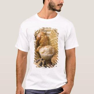 Hohe Winkelsicht der Muffins und der Cracker in a T-Shirt