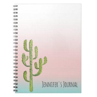 Hoher Kaktus und Wüsten-Sonnenuntergang Notizblock