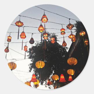 Hoi ein Vietnam-Laternen Runder Aufkleber