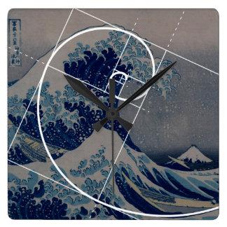Hokusai trifft Fibonacci, goldenes Verhältnis Uhr