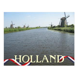 Holland-Windmühlen entlang Kanal-Postkarte Postkarten
