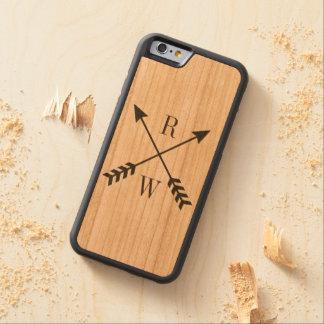 Holz hinterer mit Monogramm iPhone Fall Bumper iPhone 6 Hülle Kirsche