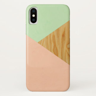 Holz und abstraktes Pastellmuster iPhone X Hülle