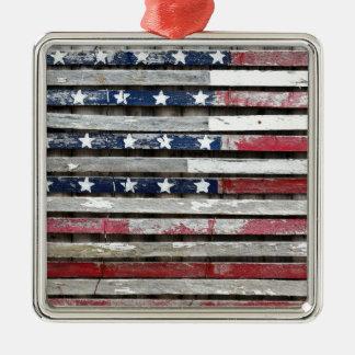 Hölzerne gemalte Flagge-Grafik Quadratisches Silberfarbenes Ornament