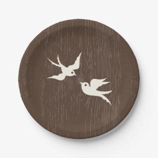 Hölzerne Hochzeit Landlovebirds-Tauben-Browns Pappteller