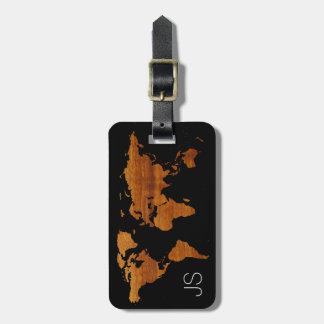 hölzerne Karte des personalisierten Reisenden Welt Koffer Anhänger