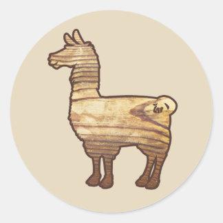 Hölzerne Lama-Aufkleber Runder Aufkleber