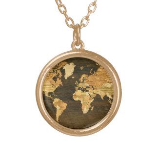 Hölzerne Weltkarte Halskette Mit Rundem Anhänger
