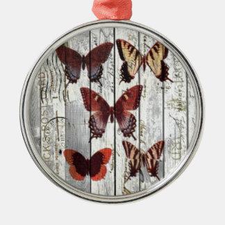 hölzerner französischer Shabby Chicschmetterling Rundes Silberfarbenes Ornament