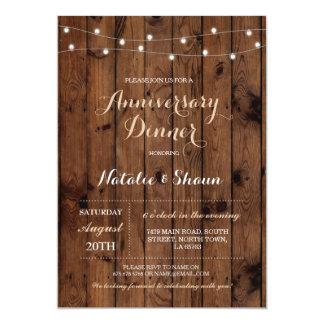 Hölzerner Hochzeits-Jahrestag beleuchtet Party 12,7 X 17,8 Cm Einladungskarte