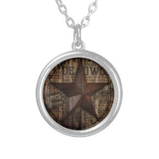 Hölzernes einziger Stern Westernland Texas der Halskette Mit Rundem Anhänger