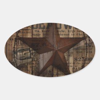 Hölzernes einziger Stern Westernland Texas der Ovaler Aufkleber