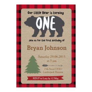 Holzfäller-Jungen-erste Geburtstags-Einladung 12,7 X 17,8 Cm Einladungskarte