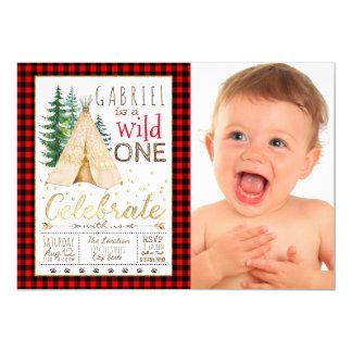 Holzfällerwilder Stammes- TeePee-erster Geburtstag 12,7 X 17,8 Cm Einladungskarte