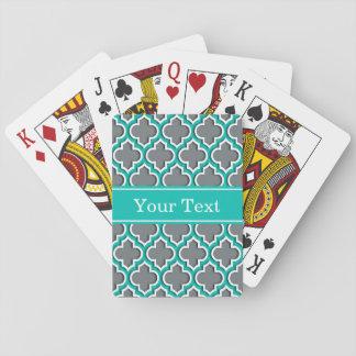 Holzkohlen-Grau-aquamariner weißer Marokkaner #5DS Spielkarten