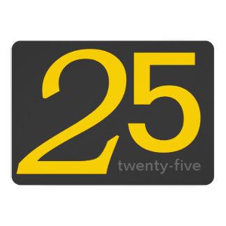Holzkohlen-und Gelb-Gewohnheits-25. Geburtstag 12,7 X 17,8 Cm Einladungskarte