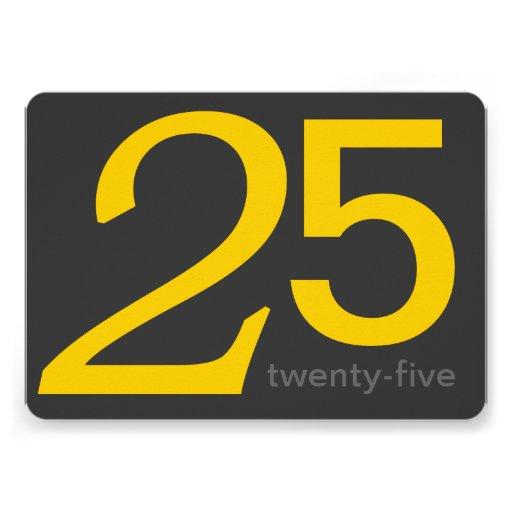 Holzkohlen-und Gelb-Gewohnheits-25. Geburtstag Personalisierte Einladungskarten