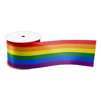 """Homosexuelle Flagge färbt Regenbogen 3"""" Satinband"""