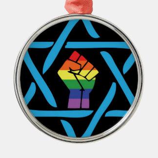 Homosexuelles schwarzes jüdisches silbernes ornament