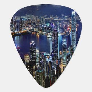 Hong Kong-Stadt-Skyline-Lichter nachts Plektron