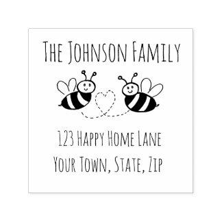 Honig-Bienen mit Herz-Adressen-Briefmarke Permastempel