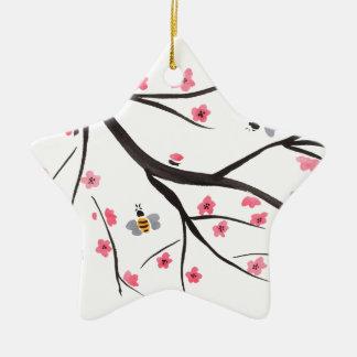 Honig-Bienen und Kirschblüten Keramik Stern-Ornament