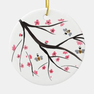 Honig-Bienen und Kirschblüten Rundes Keramik Ornament