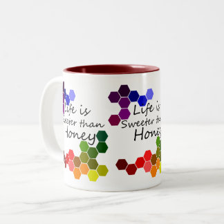 Honig-Thema mit positiven Wörtern Zweifarbige Tasse
