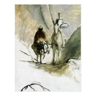Honore Daumier- Don Quichote, Sancho Pansa Postkarte