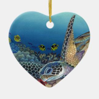 Honu (grüne Meeresschildkröte) Keramik Herz-Ornament