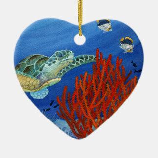 Honu und schwarze Koralle Keramik Herz-Ornament