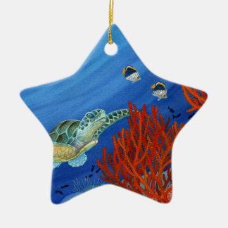 Honu und schwarze Koralle Keramik Stern-Ornament