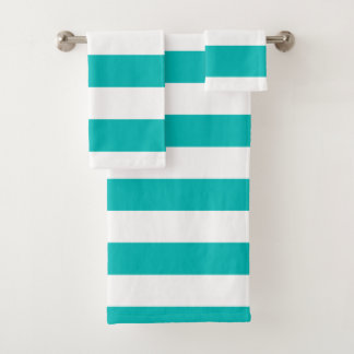 Horizontale Aqua-Streifen Badhandtuch Set