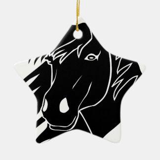 horse pferd pony reiten riding cowboy rodeo keramik Stern-Ornament
