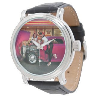 Hotrod Retro Neonrestaurant-klassisches Armbanduhr
