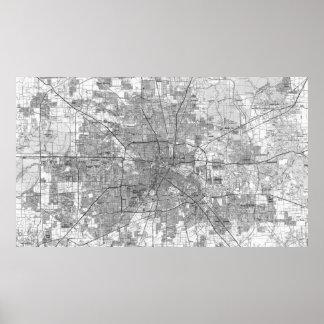 Houston Texas Map (1992) BW Poster