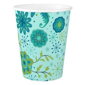 Hübsche aquamarine Blumen Pappbecher