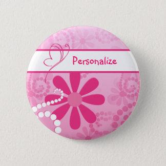 Hübsche Blumen-niedliche rosa Retro Gänseblümchen Runder Button 5,7 Cm
