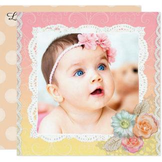 Hübsche Blumenbaby-Geburts-Mitteilung Quadratische 13,3 Cm Einladungskarte