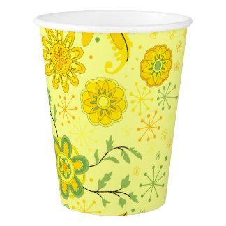 Hübsche gelbe Blumen Pappbecher