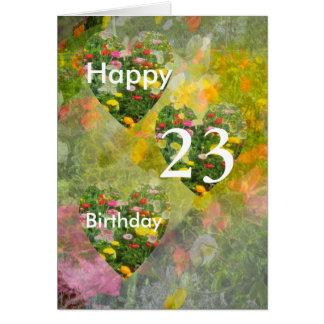 Hübsche grüne Herz-23. Geburtstags-Karte Karte